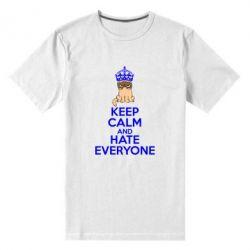 Мужская стрейчевая футболка KEEP CALM and HATE EVERYONE - FatLine