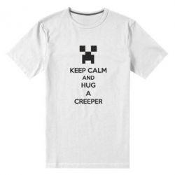 Мужская стрейчевая футболка KEEP CALM and HUG A CREEPER - FatLine