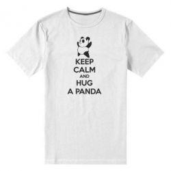 Мужская стрейчевая футболка KEEP CALM and HUG A PANDA - FatLine