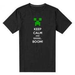 Мужская стрейчевая футболка Keep calm and ssssssss...BOOM! - FatLine