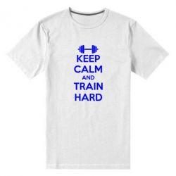 Мужская стрейчевая футболка KEEP CALM and TRAIN HARD - FatLine