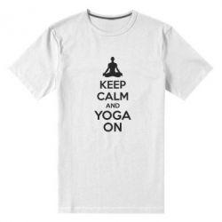 Мужская стрейчевая футболка KEEP CALM and YOGA ON - FatLine