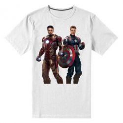 Мужская стрейчевая футболка Кэп и Тони - FatLine