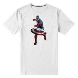 Мужская стрейчевая футболка Кэп - FatLine