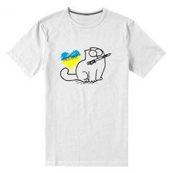 Мужская стрейчевая футболка Кіт-патріот - FatLine
