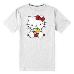 Мужская стрейчевая футболка Kitty с букетиком - FatLine