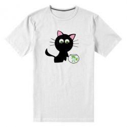 Мужская стрейчевая футболка Кошечка и аквариум - FatLine