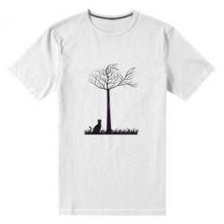 Мужская стрейчевая футболка Кот прыгает на дерево - FatLine