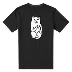 Мужская стрейчевая футболка Кот с факом - FatLine