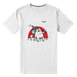 Мужская стрейчевая футболка Кот Саймона на фоне заката - FatLine