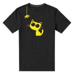Мужская стрейчевая футболка Котик и паук - FatLine