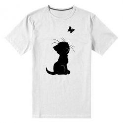 Мужская стрейчевая футболка Котик с бабочкой - FatLine