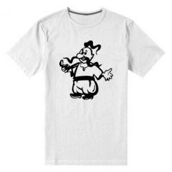 Мужская стрейчевая футболка Козак з люлькою - FatLine