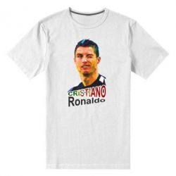 Мужская стрейчевая футболка Криштиану Роналду, полигональный портрет - FatLine
