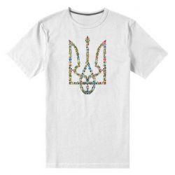Мужская стрейчевая футболка Квітучий герб України - FatLine