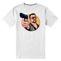 Чоловіча стрейчева футболка Лебовськи з пістолетом
