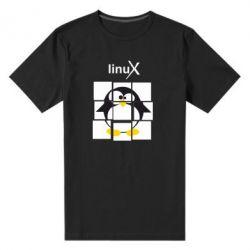 Мужская стрейчевая футболка Linux pinguine - FatLine