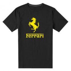 Мужская стрейчевая футболка логотип Ferrari - FatLine