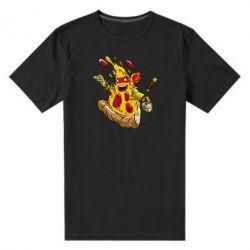 Мужская стрейчевая футболка Микеланджело кусок пиццы - FatLine