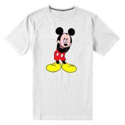 Мужская стрейчевая футболка Микки Маус стесняется - FatLine