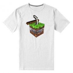 Мужская стрейчевая футболка Minecraft Logo Сube - FatLine