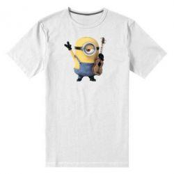 Мужская стрейчевая футболка Миньон с гитарой - FatLine