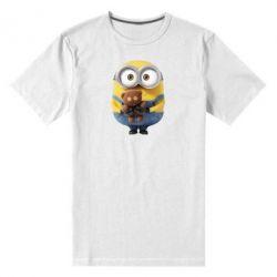 Мужская стрейчевая футболка Миньон с мишкой