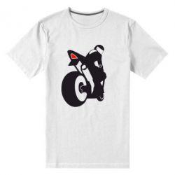 Мужская стрейчевая футболка Мотоциклист на спорте - FatLine