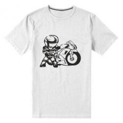Мужская стрейчевая футболка Мотоциклист - FatLine