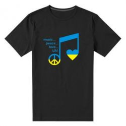 Мужская стрейчевая футболка Music, peace, love UA - FatLine