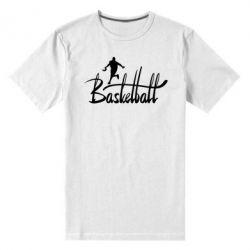 Мужская стрейчевая футболка Надпись Баскетбол - FatLine
