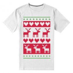Мужская стрейчевая футболка Новогодние узоры - FatLine
