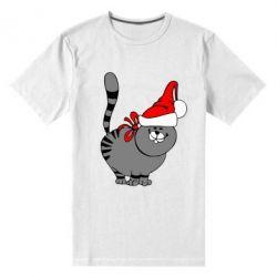 Мужская стрейчевая футболка Новогодний котэ - FatLine