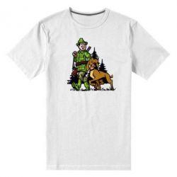 Мужская стрейчевая футболка Охотник с собакой - FatLine