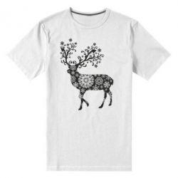 Мужская стрейчевая футболка Олень в снежинках
