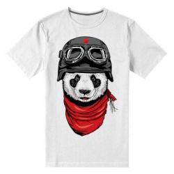 Мужская стрейчевая футболка Панда в каске - FatLine
