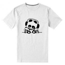 Мужская стрейчевая футболка Панда в наушниках
