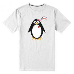 Мужская стрейчевая футболка Пингвин девочка
