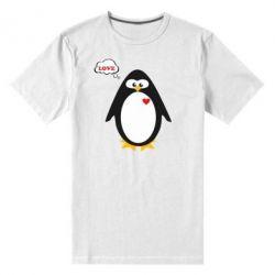 Мужская стрейчевая футболка Пингвин мальчик - FatLine