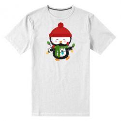 Мужская стрейчевая футболка Пингвин с гирляндой - FatLine