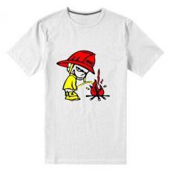 Мужская стрейчевая футболка Писающий хулиган-пожарный - FatLine