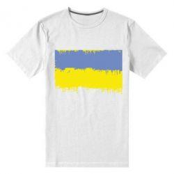 Мужская стрейчевая футболка Потертый флаг Украины - FatLine