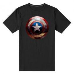 Мужская стрейчевая футболка Потрескавшийся щит Капитана Америка - FatLine
