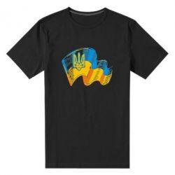 Мужская стрейчевая футболка Прапор України з гербом - FatLine