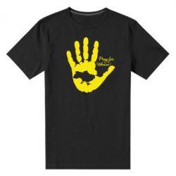 Мужская стрейчевая футболка Рука з картою України - FatLine