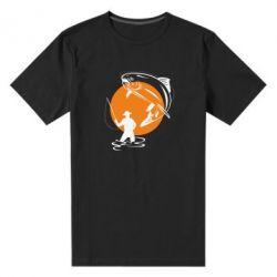 Мужская стрейчевая футболка Рыбак на фоне солнца - FatLine