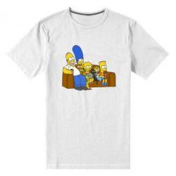 Мужская стрейчевая футболка Семейство Симпсонов - FatLine