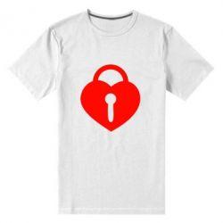 Мужская стрейчевая футболка Сердце со скважиной - FatLine