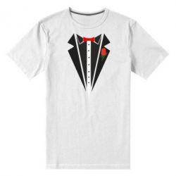 Мужская стрейчевая футболка Смокинг с бабочкой и розой - FatLine