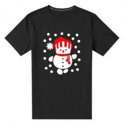 Мужская стрейчевая футболка Снеговик в шапке - FatLine